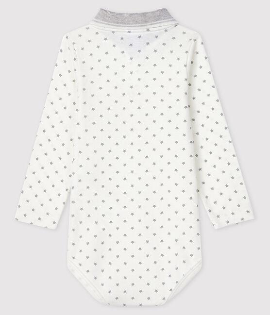 Body manches longues col polo bébé blanc Marshmallow / gris Gris