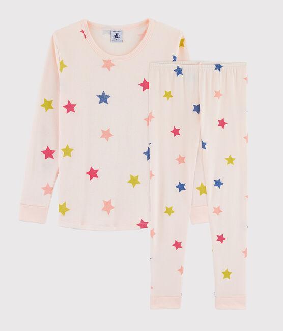 Pyjama snugfit à étoiles petite fille en côte rose Fleur / blanc Multico