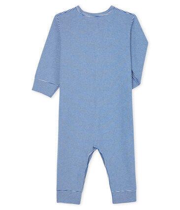 Dors-bien sans pieds à rayures bleues bébé en côte bleu Pablito / blanc Marshmallow