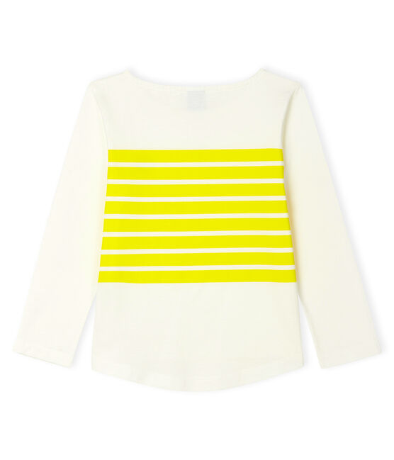 Tee-shirt enfant fille blanc Marshmallow / jaune Eblouis