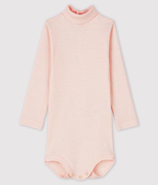 Body manches longues col roulé bébé rose Minois / blanc Marshmallow