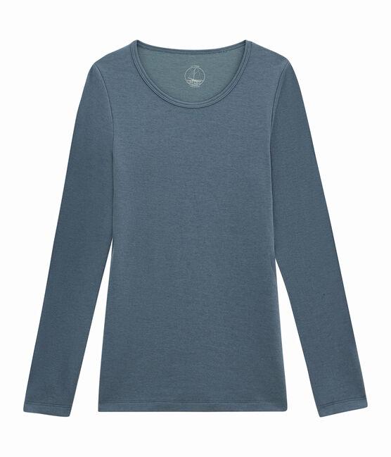 Tee shirt manches longues pour femme bleu Turquin