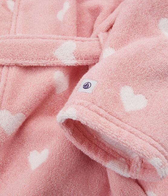 Peignoir cœur petite fille en éponge rose Charme / blanc Marshmallow