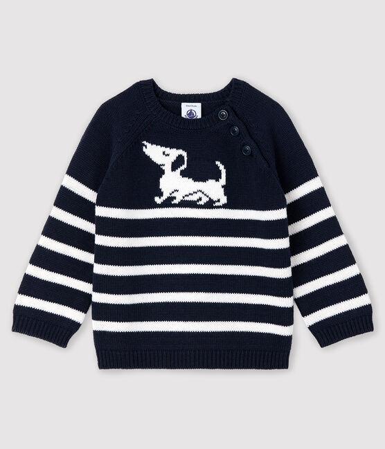 Pull rayé à motif bébé garçon bleu Smoking / blanc Marshmallow