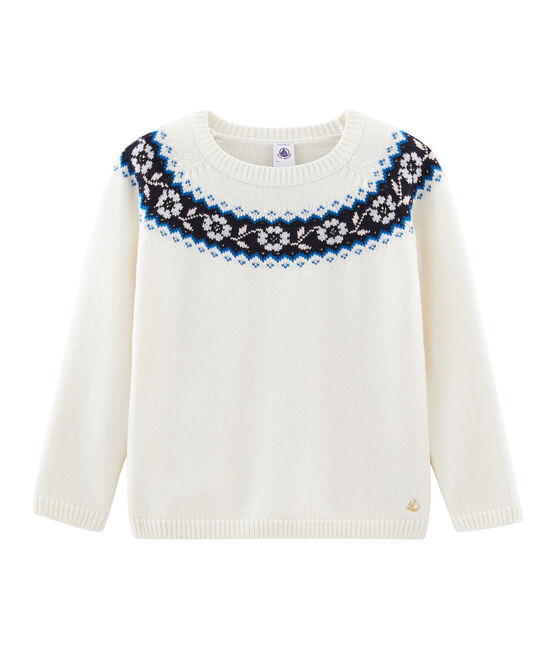 Pull enfant fille blanc Marshmallow / blanc Multico