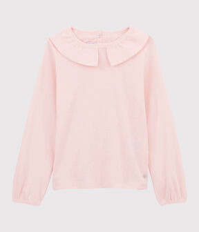 Tee-shirt à col enfant fille rose Minois
