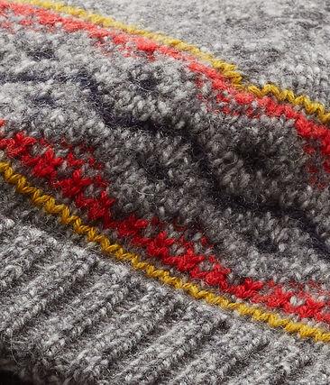 Bonnet garçon en laine mélangée gris Subway / blanc Multico