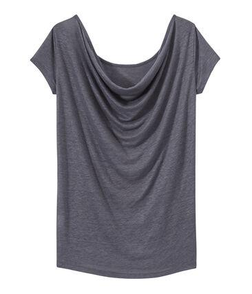 T-shirt femme col bénitier au dos en lin irisé gris Maki / gris Argent