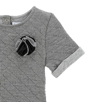 Robe fille manches courtes gris Capecod / blanc Marshmallow