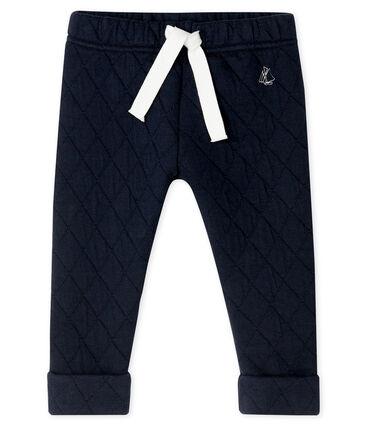Pantalon bébé garçon en tubique matelassé bleu Smoking
