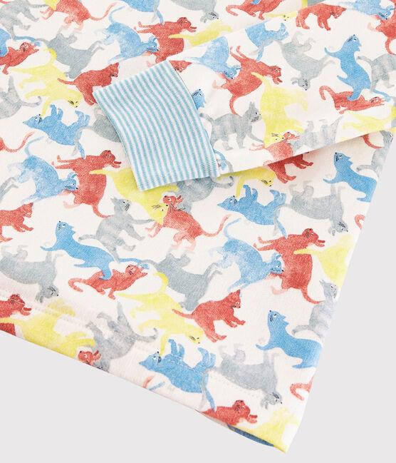Pyjama imprimé chats petit garçon en molleton blanc Marshmallow / blanc Multico