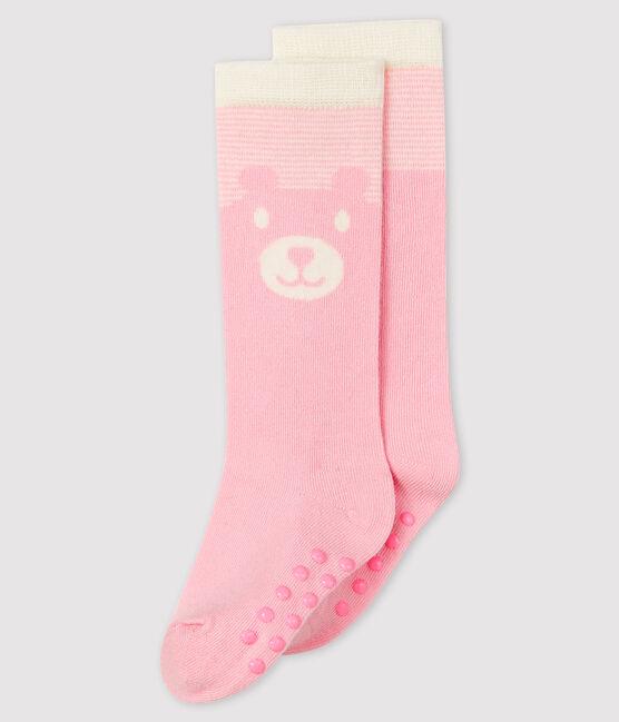 Chaussettes hautes bébé rose Minois / blanc Marshmallow