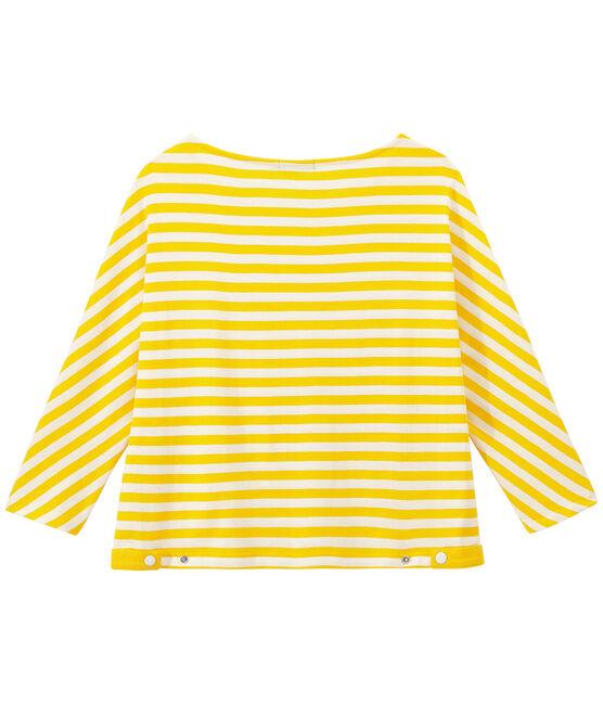 T-shirt femme manches 3/4 rayé jaune Shine / blanc Marshmallow