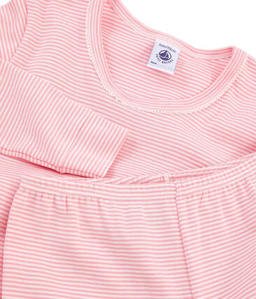 Pyjama petite fille coupe très ajustée en côte rose Charme / blanc Marshmallow