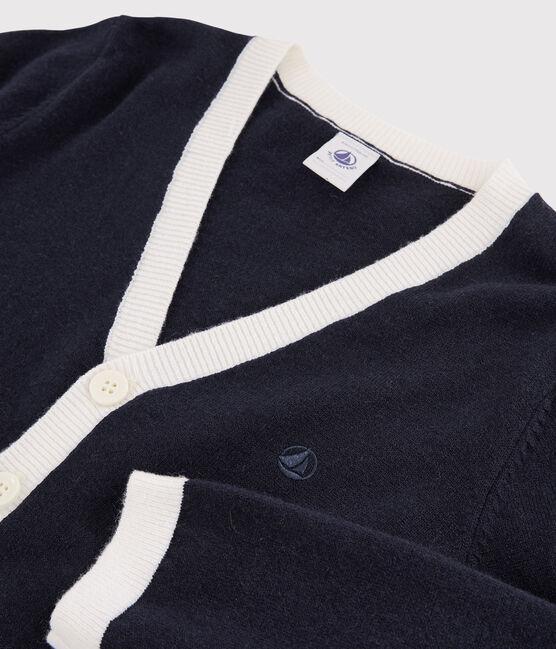 Cardigan laine et coton enfant garçon bleu Smoking / blanc Marshmallow