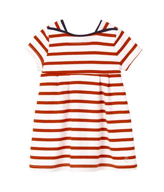 Robe bébé fille en jersey lourd rayé blanc Lait/rouge Peps