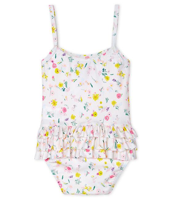 Maillot de bain 1 pièce écoresponsable bébé fille blanc Marshmallow / blanc Multico