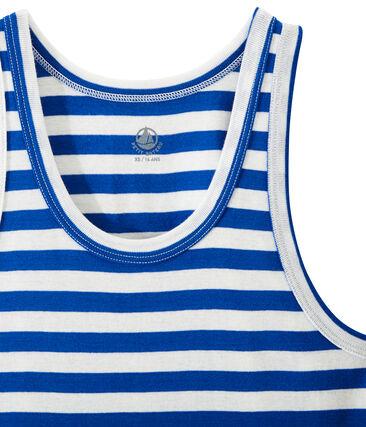 Débardeur femme en côte originale rayée bleu Perse / blanc Marshmallow