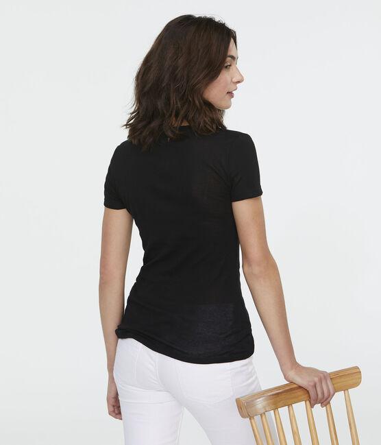 T-shirt côte légère Femme noir Noir