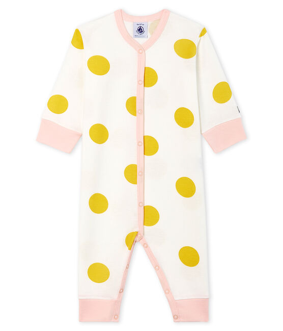 Dors bien sans pieds bébé fille en côte blanc Marshmallow / jaune Ble