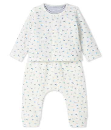 Ensemble 3 pièces bébé mixte en tubique blanc Marshmallow / bleu Toudou