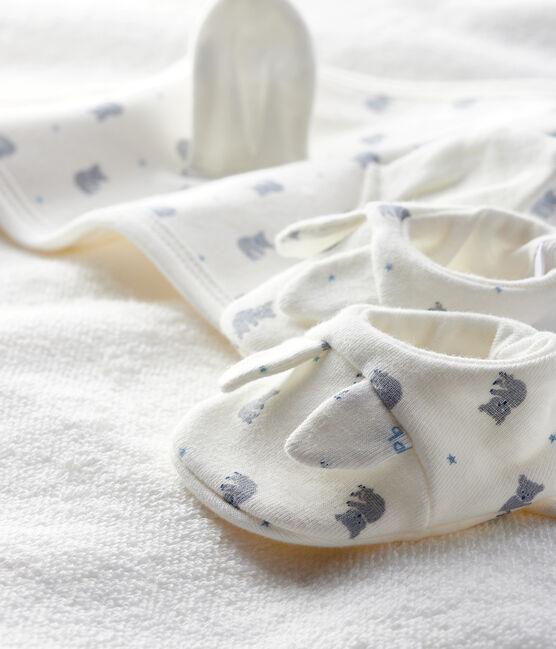 Coffret carré de bain et chaussons bébé en éponge et côte blanc Marshmallow / gris Gris