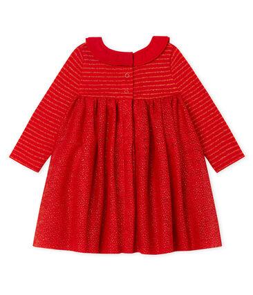 Robe manches longues bi-matière bébé fille rouge Terkuit / jaune Or