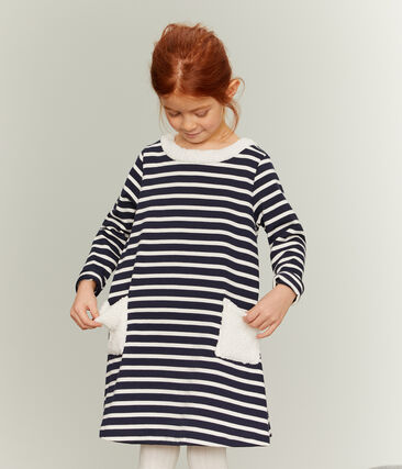 Robe manches longues enfant fille bleu Smoking / beige Coquille