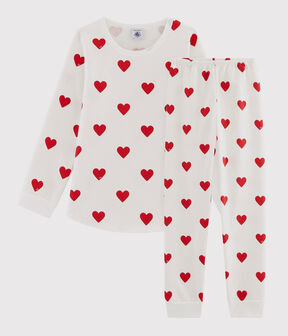 Pyjama enfant imprimé cœurs en molleton blanc Marshmallow / rouge Terkuit