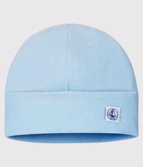 Bonnet naissance bébé en velours bleu Toudou