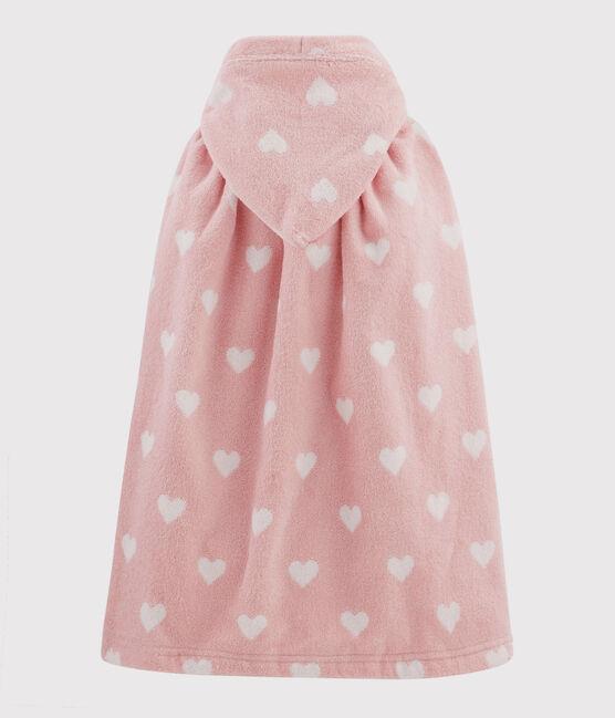 Cape de bain cœur bébé en éponge rose Charme / blanc Marshmallow