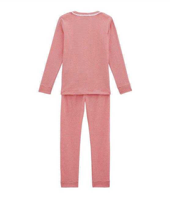 Pyjama petite fille coupe ajustée rose Impatience / blanc Marshmallow