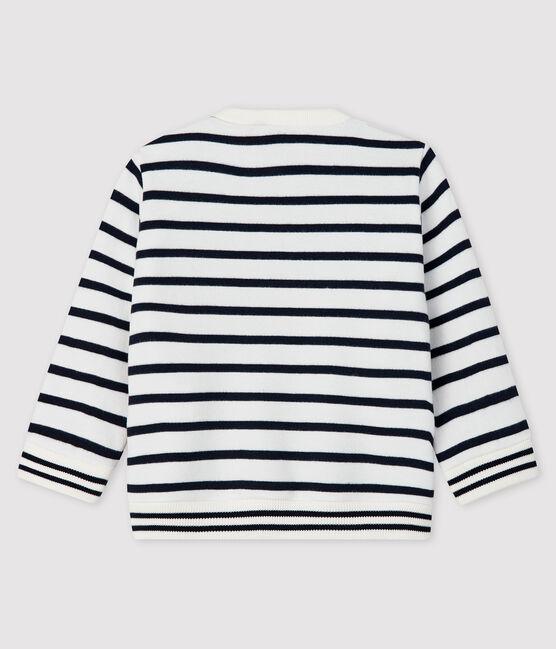 Sweatshirt bébé fille en molleton blanc Marshmallow / bleu Smoking