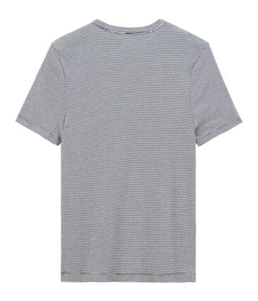 Tee shirt manches courtes iconique en côte originale 100% coton. bleu Smoking / blanc Marshmallow