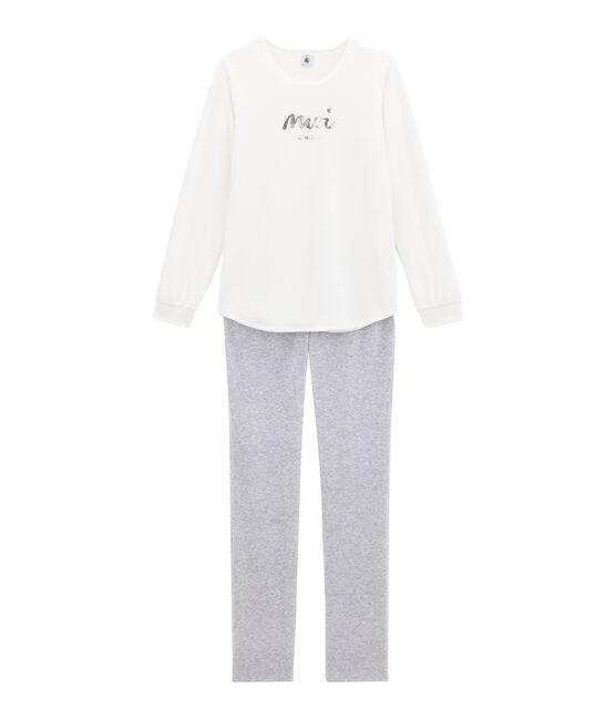 Pyjama fille blanc Marshmallow / gris Poussiere