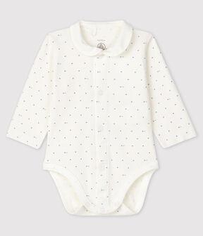 Body à col manches longues bébé blanc Marshmallow / bleu Acier