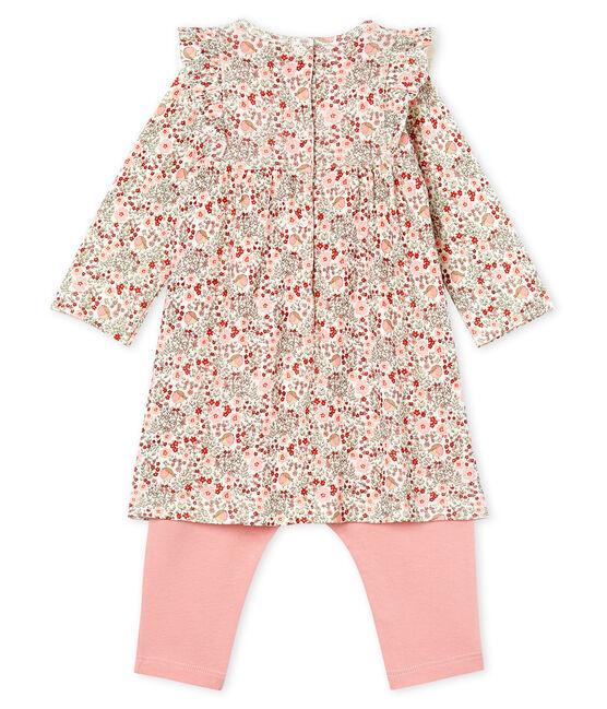 Robe legging imprimée bébé fille blanc Marshmallow / blanc Multico