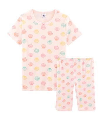 Pyjacourt petite fille en côte rose Fleur / blanc Multico