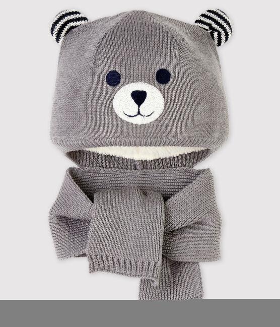 Bonnet écharpe bébé fille/garçon gris Subway