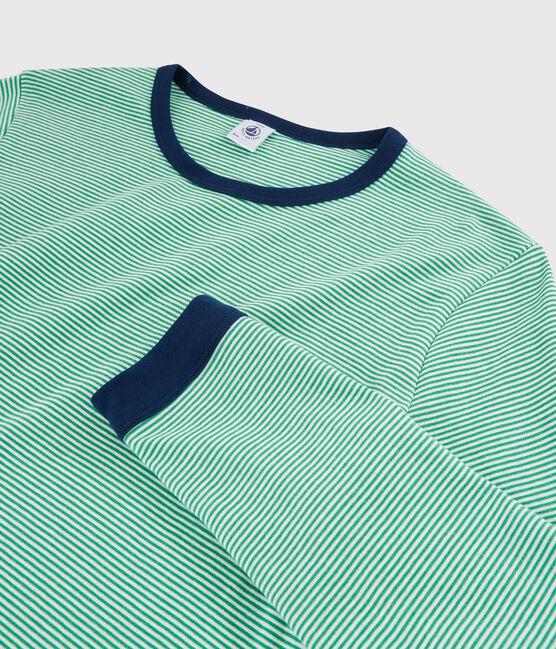 Pyjama milleraies mixte en côte vert Prado / blanc Marshmallow