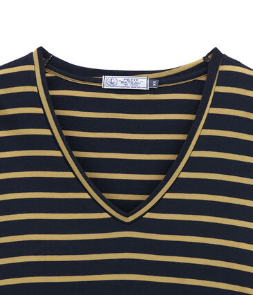 Tee shirt femme manches longues bleu Smoking / jaune Brindille Satin
