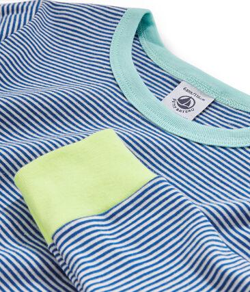 Pyjama petit garçon en côte bleu Pablito / blanc Marshmallow