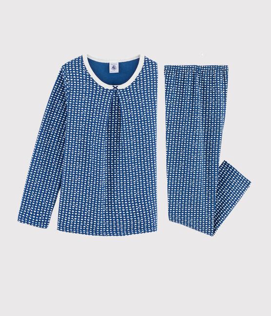 Pyjama imprimé cœurs petite fille en tubique bleu Major / blanc Marshmallow