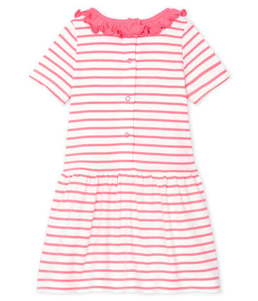 Robe rayée à collerette bébé fille blanc Marshmallow / rose Cupcake