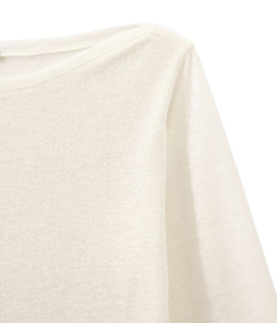 T-shirt femme manches longues en lin irisé blanc Lait / jaune Or