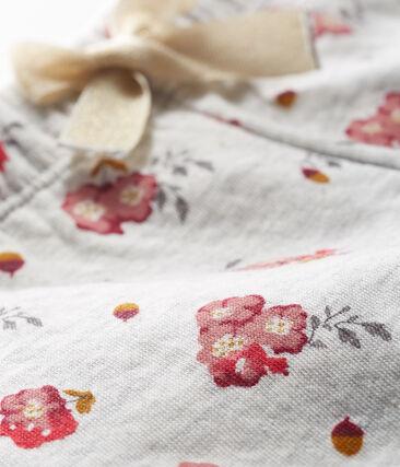 Pantalon en tubique imprimé bébé fille gris Beluga / blanc Multico