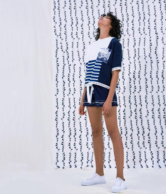 Marinière Femme Christoph Rumpf x Petit Bateau blanc Marshmallow / bleu Smoking