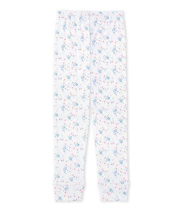 Bas de pyjama fille imprimé à coordonner blanc Ecume / bleu Bleu