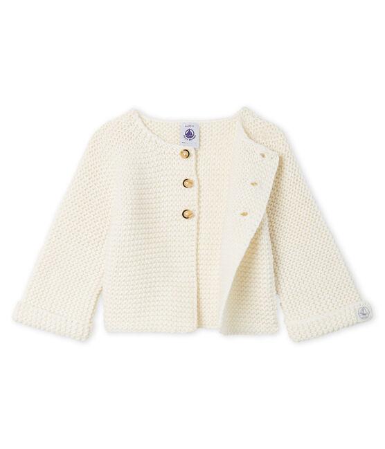 Cardigan laine et coton point mousse bébé fille blanc Marshmallow