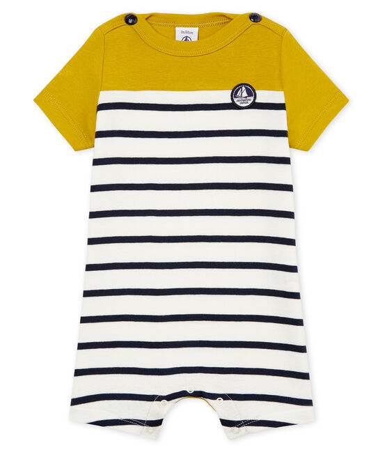 Combicourt bébé garçon en cote 1x1 rayée jaune Bamboo / blanc Marshmallow